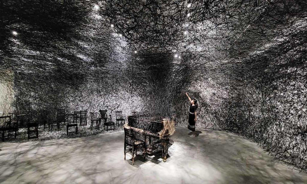 塩田千春展覽-黑線-作品